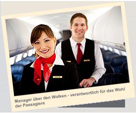 Manager über den Wolken - verantwortlich für das Wohl der Passagiere